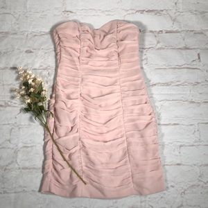 H&M strapless pink ruffled dress.  Size 4. New!!